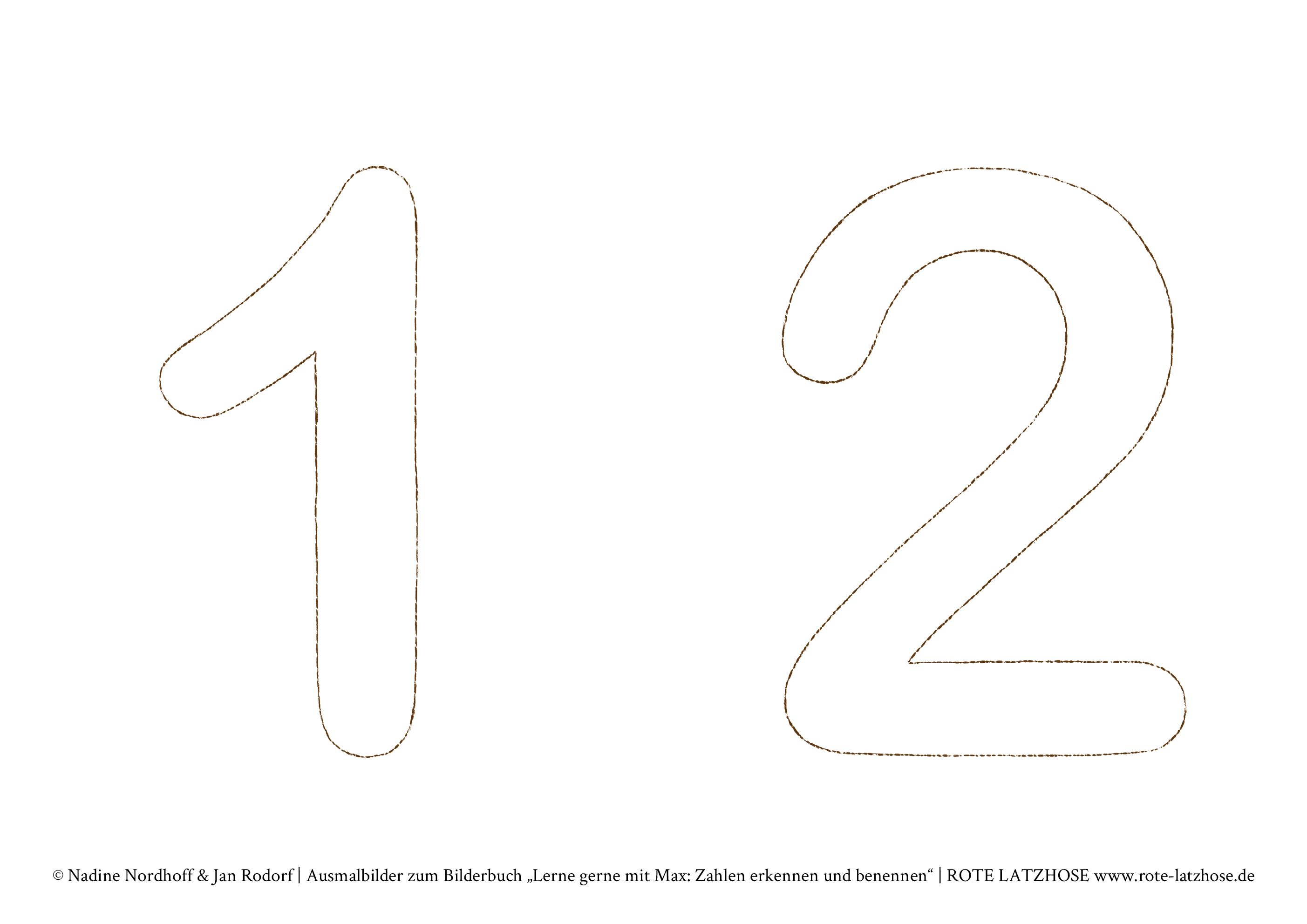 Zahlen In Dina4 Pdf Vorlage Zum Ausrucken 12